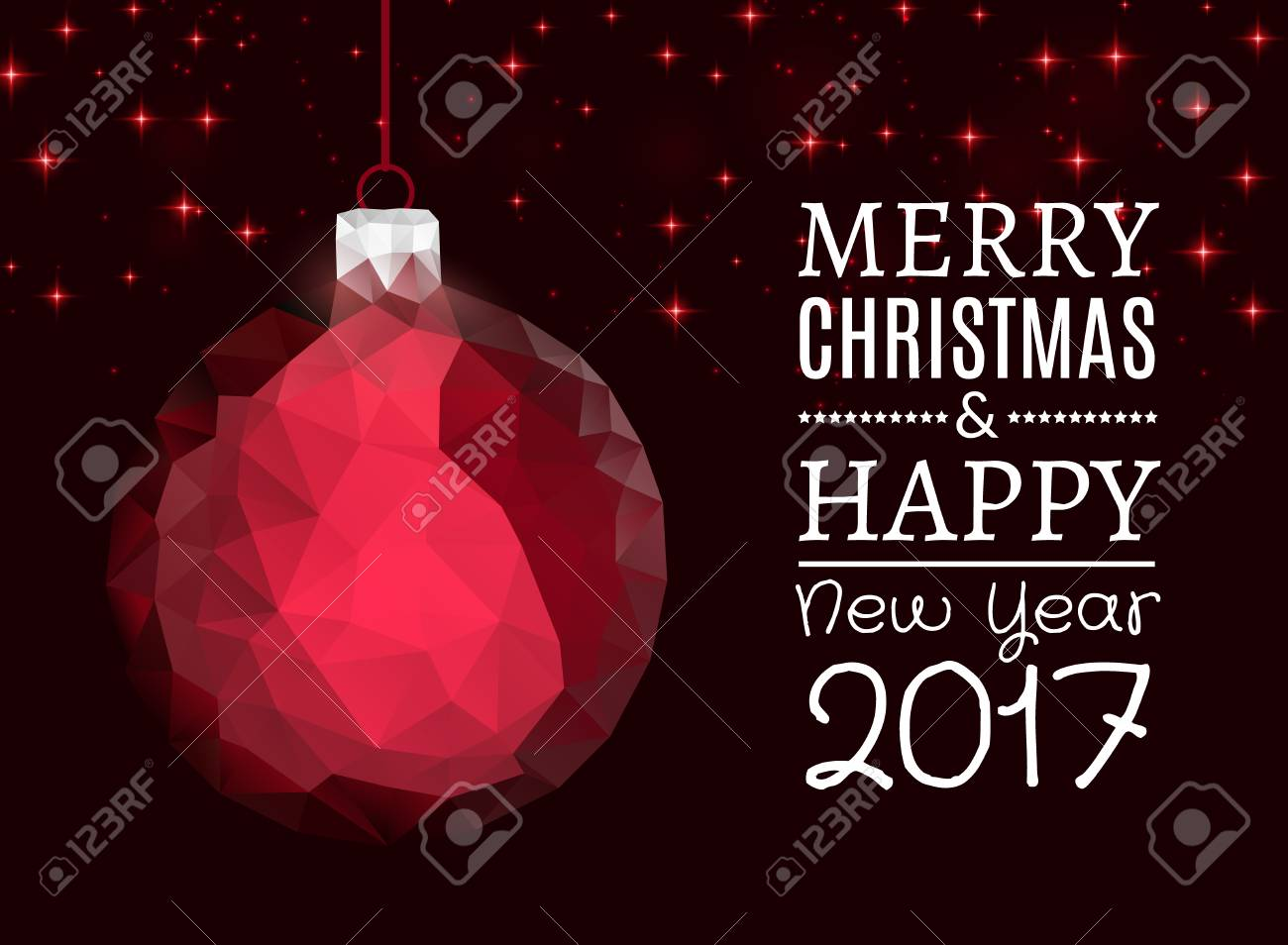 Merry Christmas And Happy New Year Blue Polygonal Ball For Xmas
