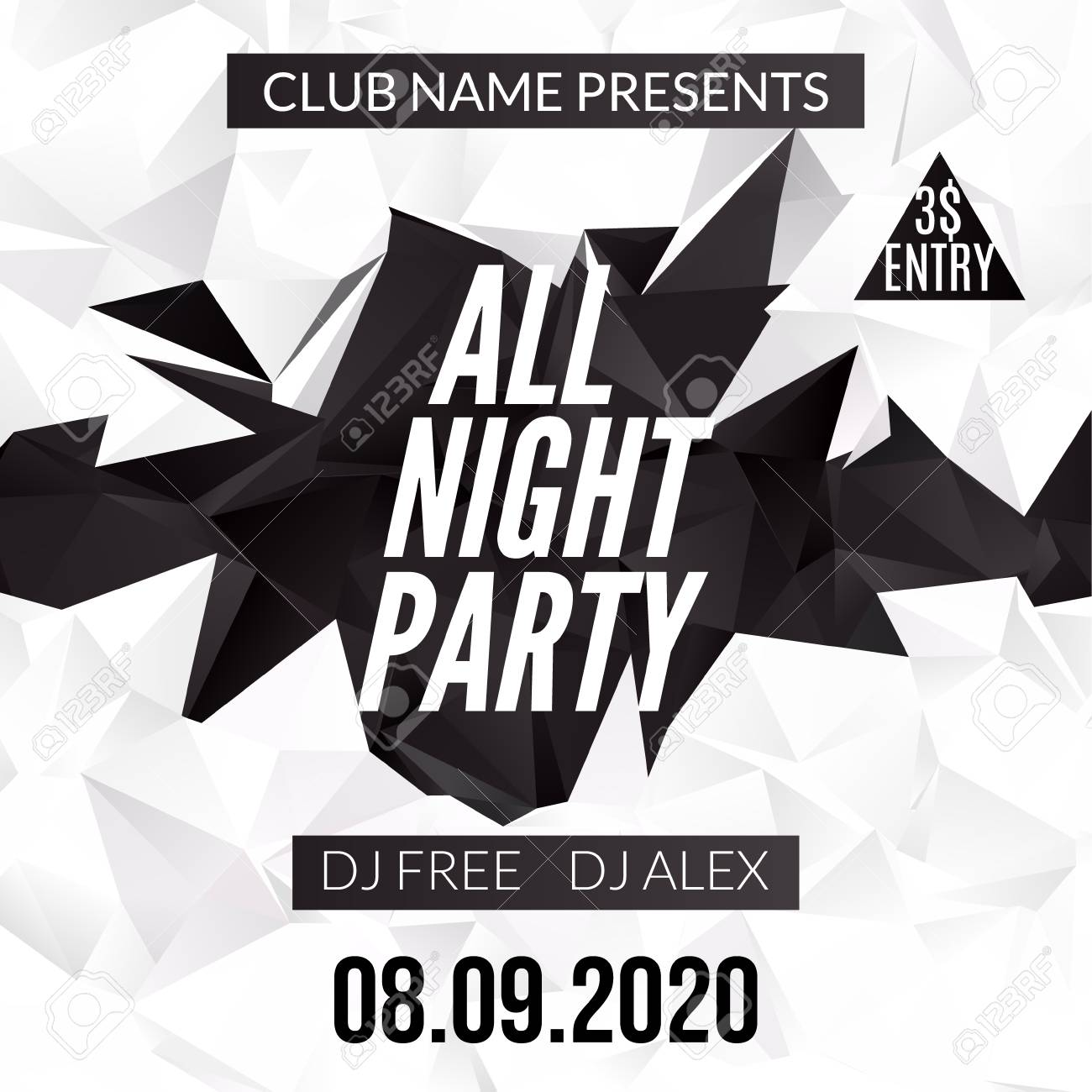 Night Dance Party Design Template In Polygonal Style. Club Dance ...