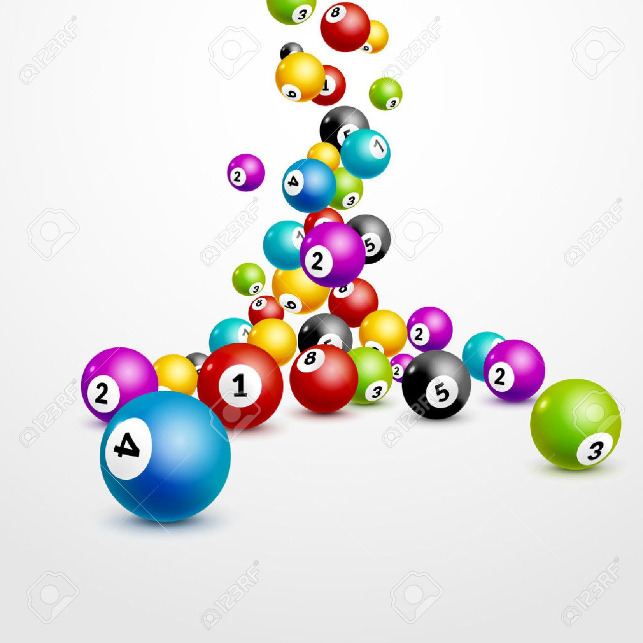 Bingo lottery balls numbers background. Lottery game balls. Lotto winner. Falling balls template. Banque d'images - 68591329