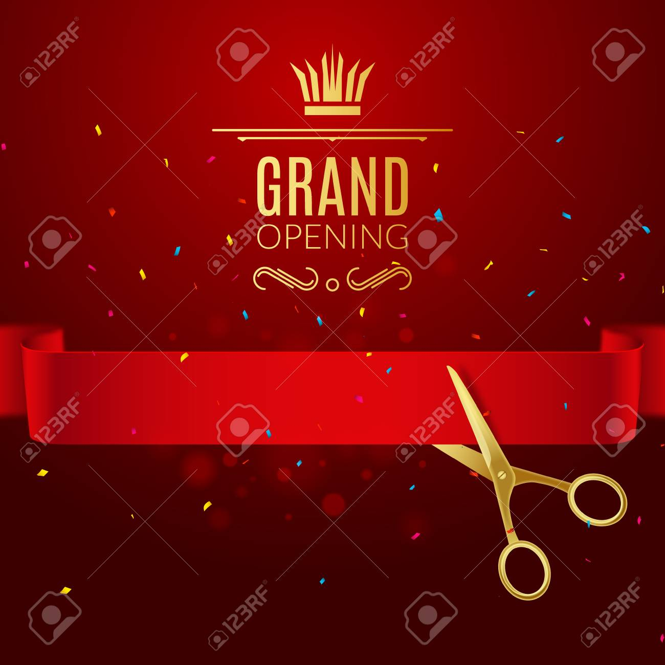 grand opening design template with ribbon and scissors grand