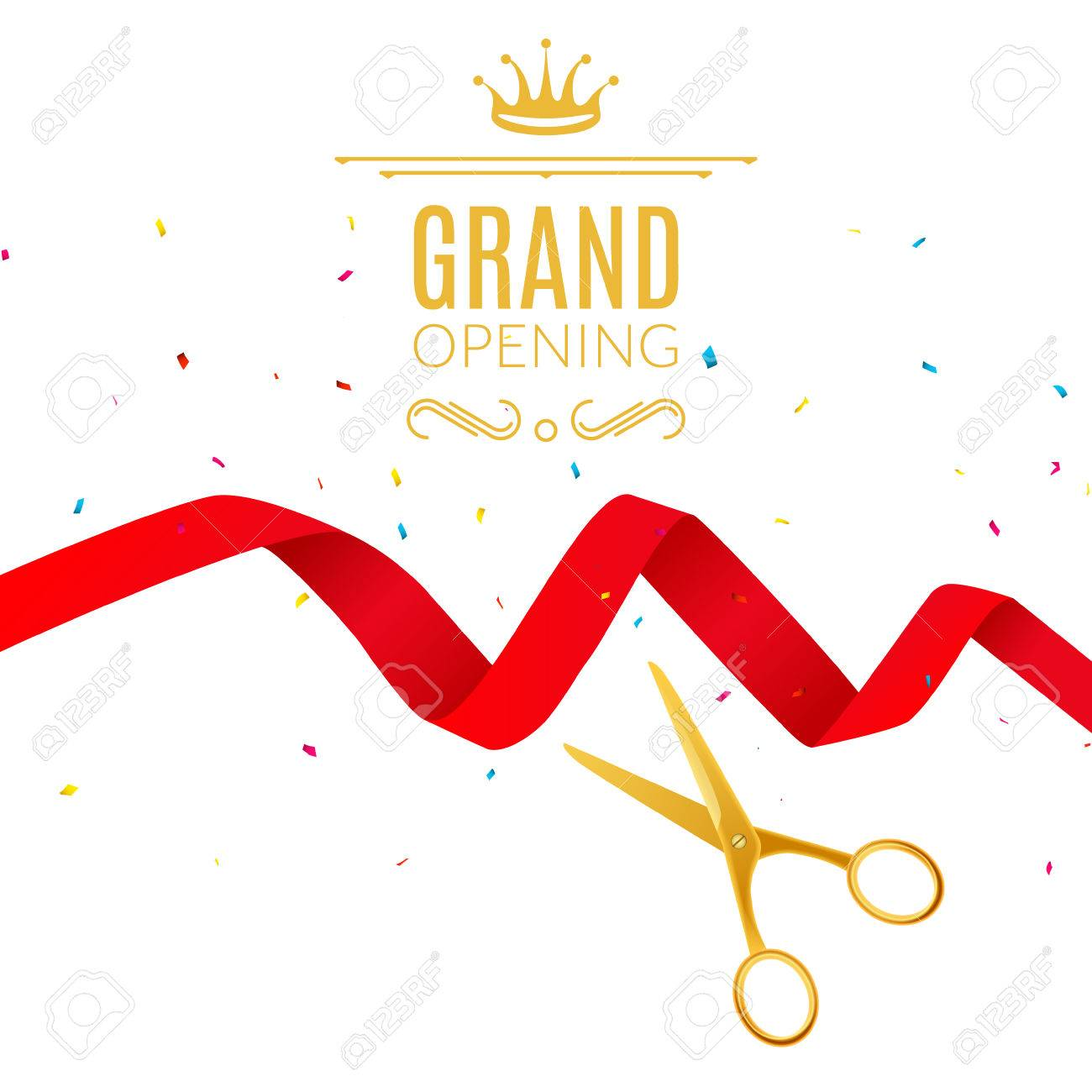 grand opening design template with ribbon and scissors grand open ribbon cut concept stock vector