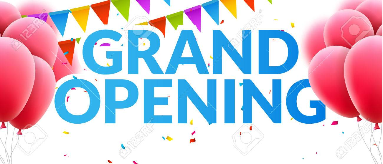 grand opening event invitation banner with balloons and confetti