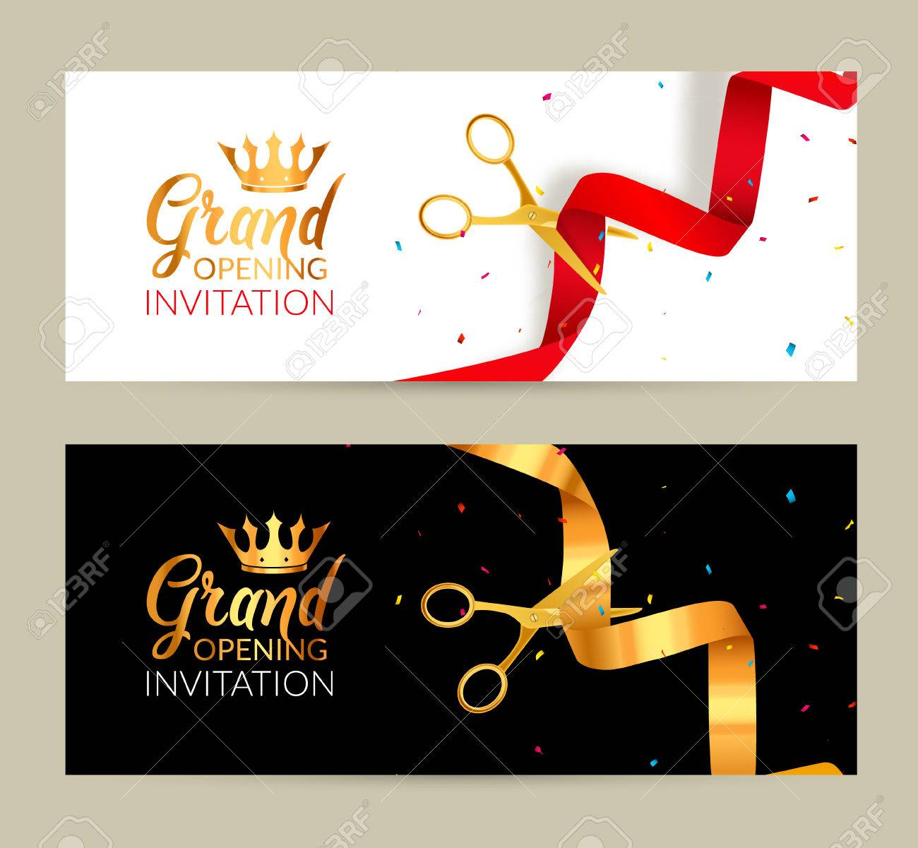 Grand Opening invitation banner. Golden Ribbon and red ribbon cut ceremony event. Grand opening celebration card. - 68591641