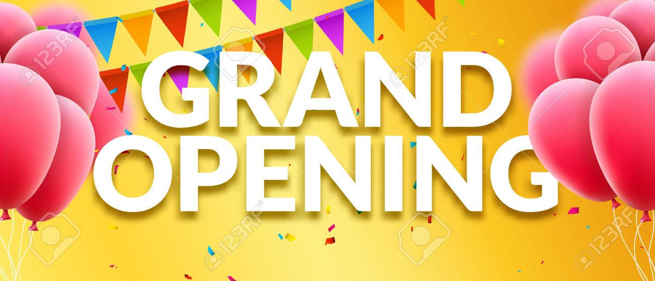 Grand opening event invitation banner with balloons and confetti grand opening event invitation banner with balloons and confetti grand opening poster template design stopboris Choice Image