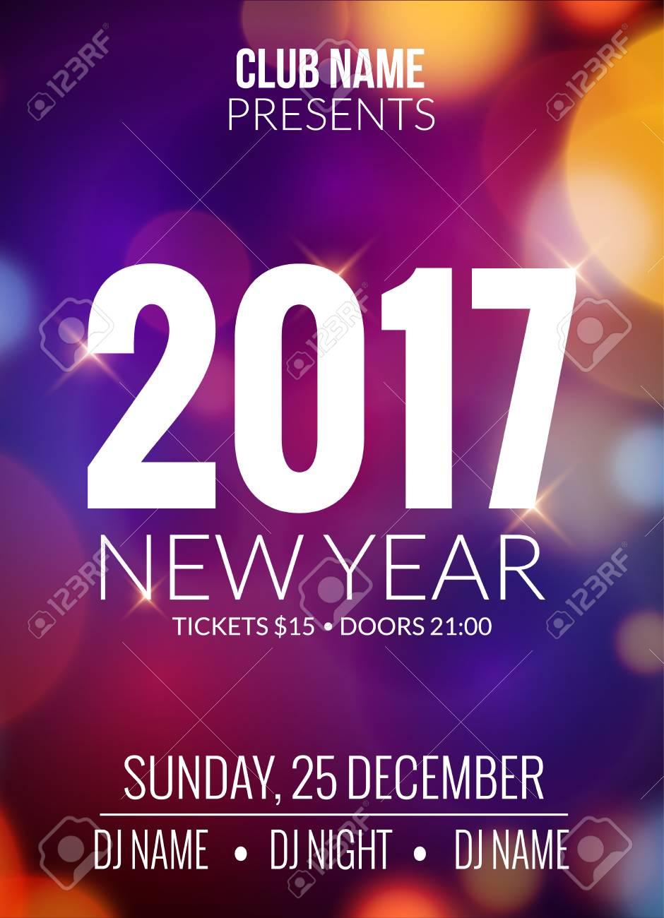 new year party design banner event celebration design template bokeh lights new year festive
