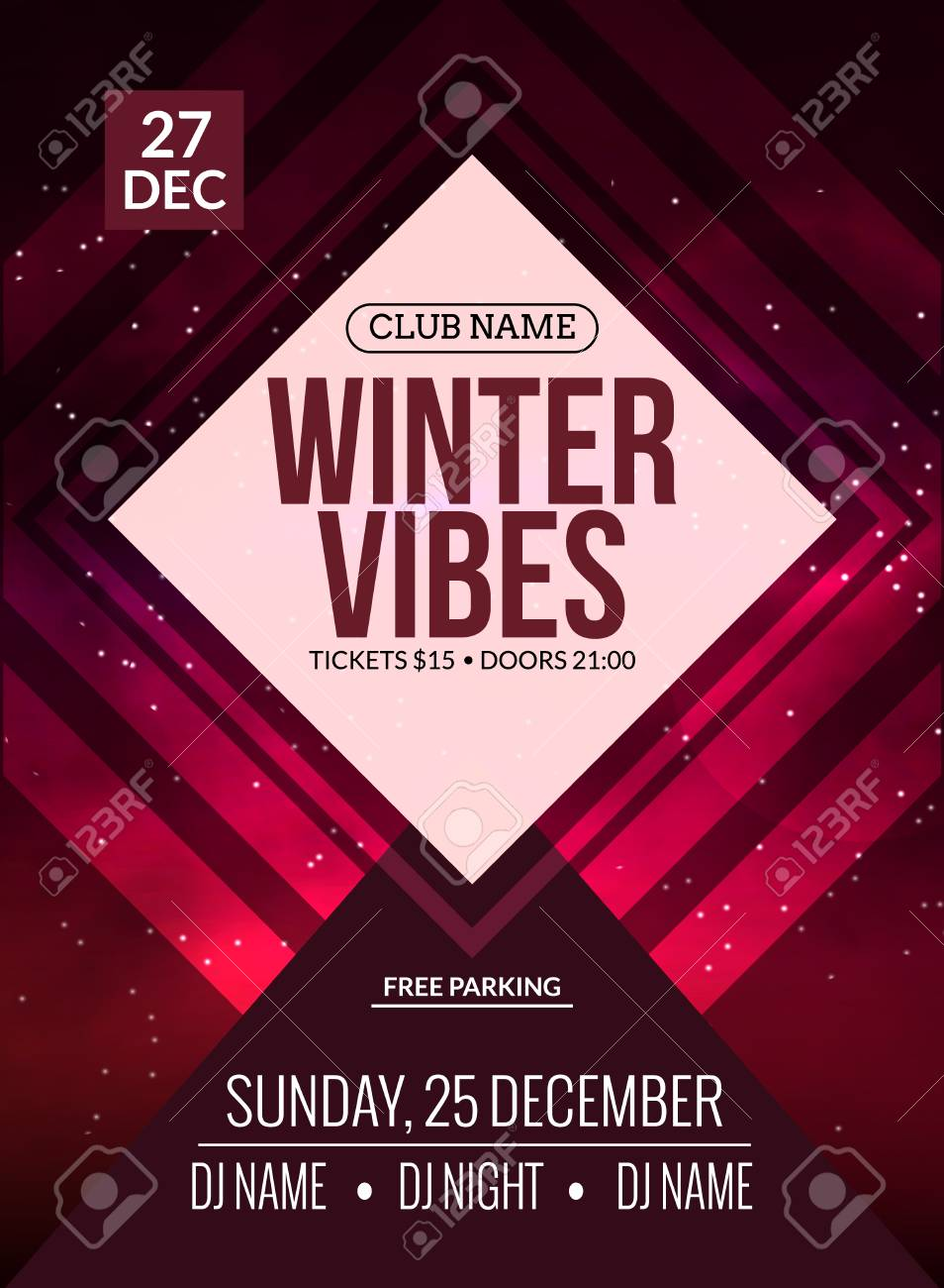 Dance Party, Dj Battle Poster Design. Winter Disco Party. Music ...