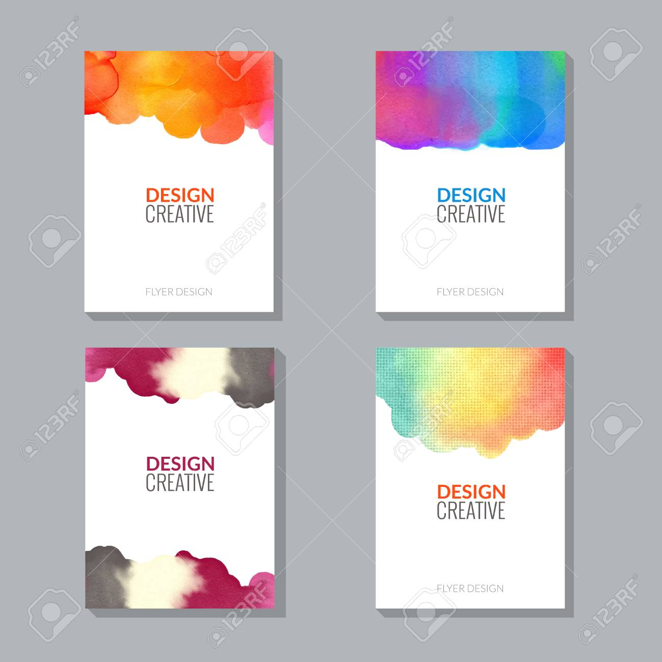Vector Poster Flyer Templates With Watercolor Paint Splash Abstract