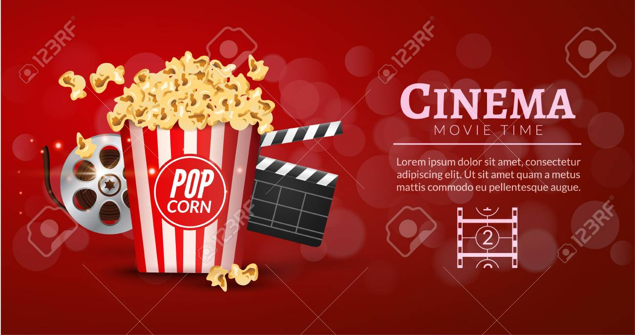Movie Film Banner Design Template Cinema Concept With Popcorn Filmstrip And Clapper