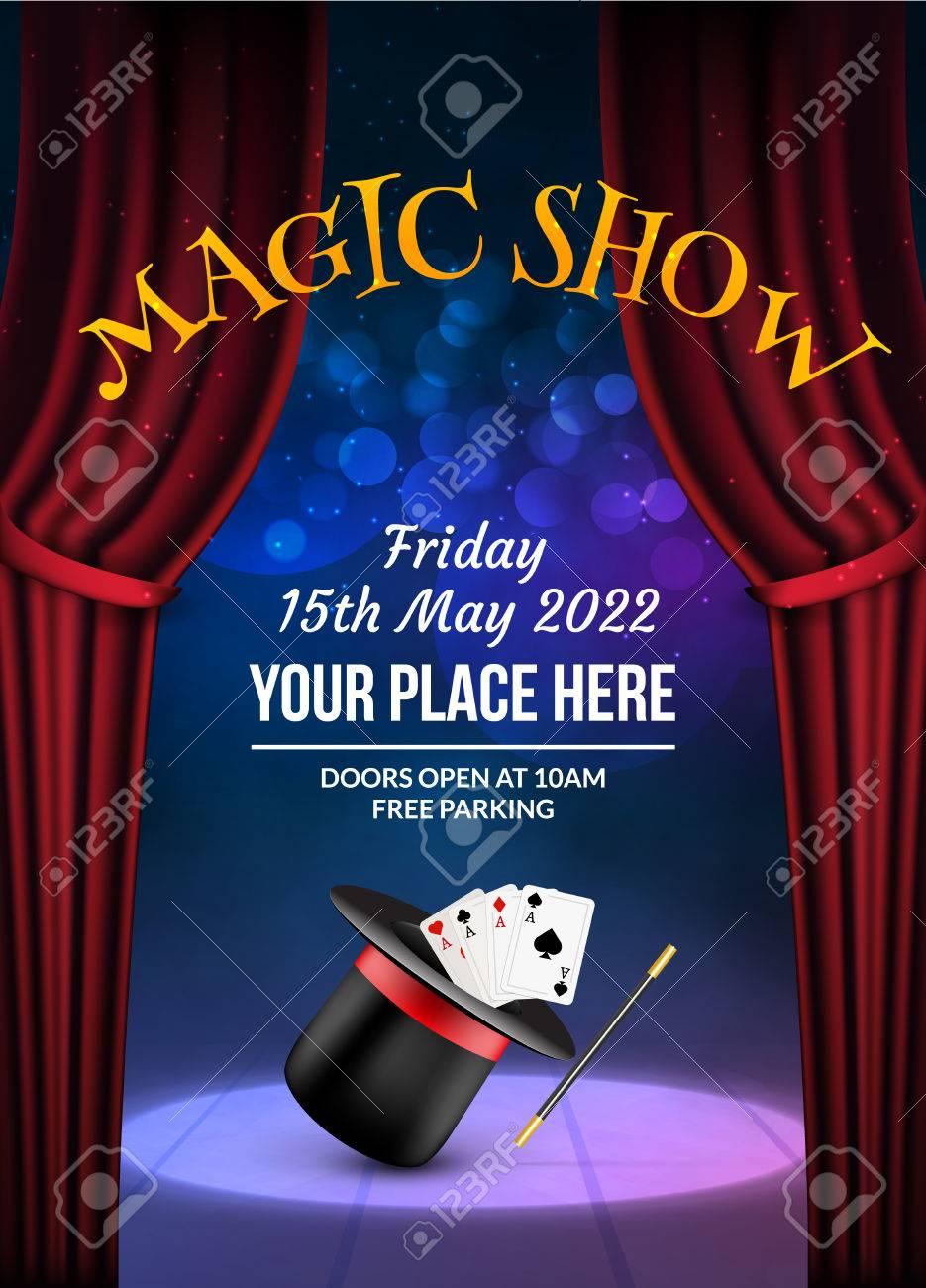 Foto de archivo - Plantilla de diseño de cartel de Magic Show. Fondo de vector  mágico de ilusión. Folleto de mago del teatro con truco de sombrero. e724ff083e1