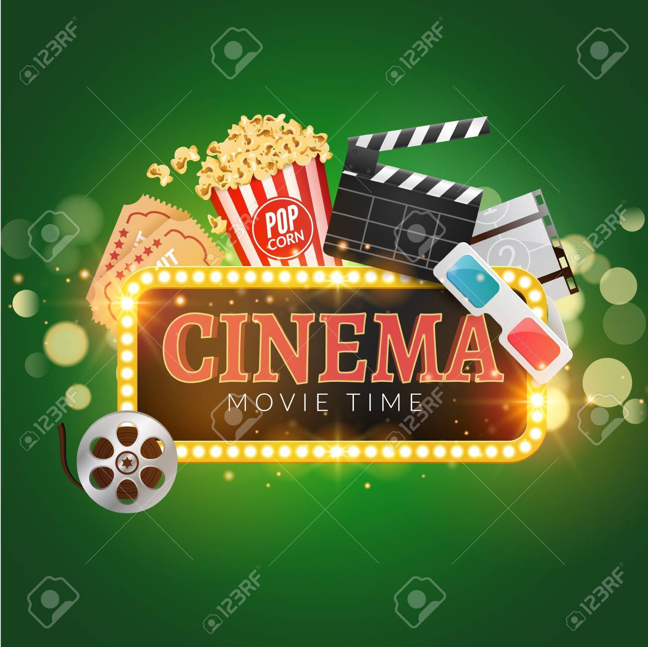 Cinema Movie Vector Poster Design Template Popcorn Filmstrip Clapboard Tickets