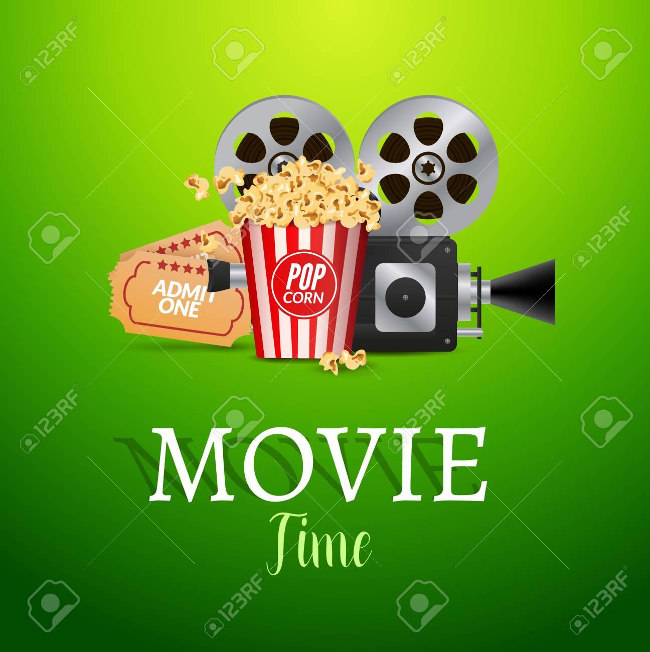Kino Film Vektor Poster Design-Vorlage. Filmstreifen, Tickets ...