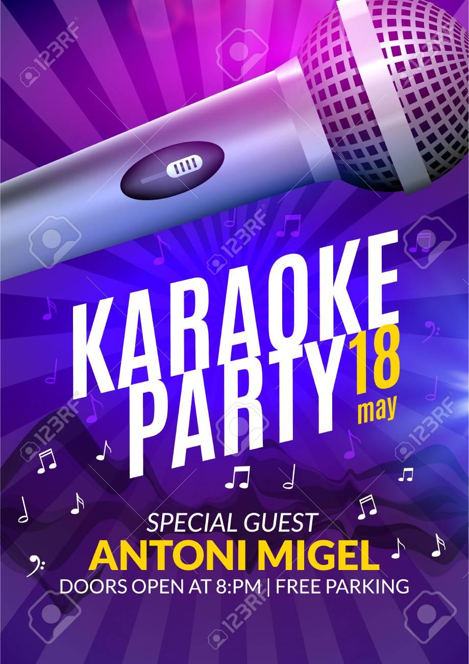Invitación De La Fiesta Plantilla De Diseño Del Cartel De Karaoke Karaoke Diseño De Volante Noche Música De Concierto Voz