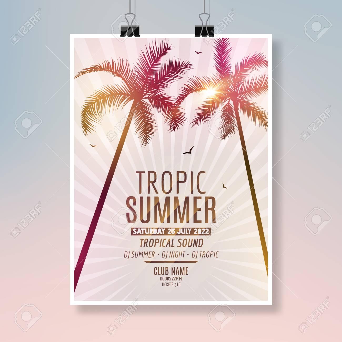 tropic summer beach party flyer design poster summer vacation template stock vector 80872521
