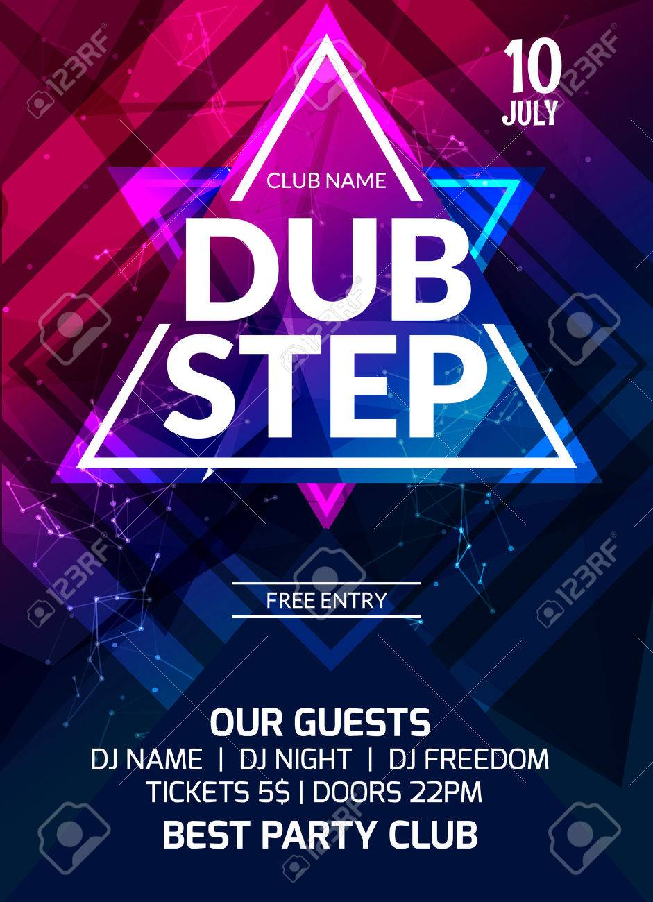dubstep party flyer poster futuristic club flyer design template