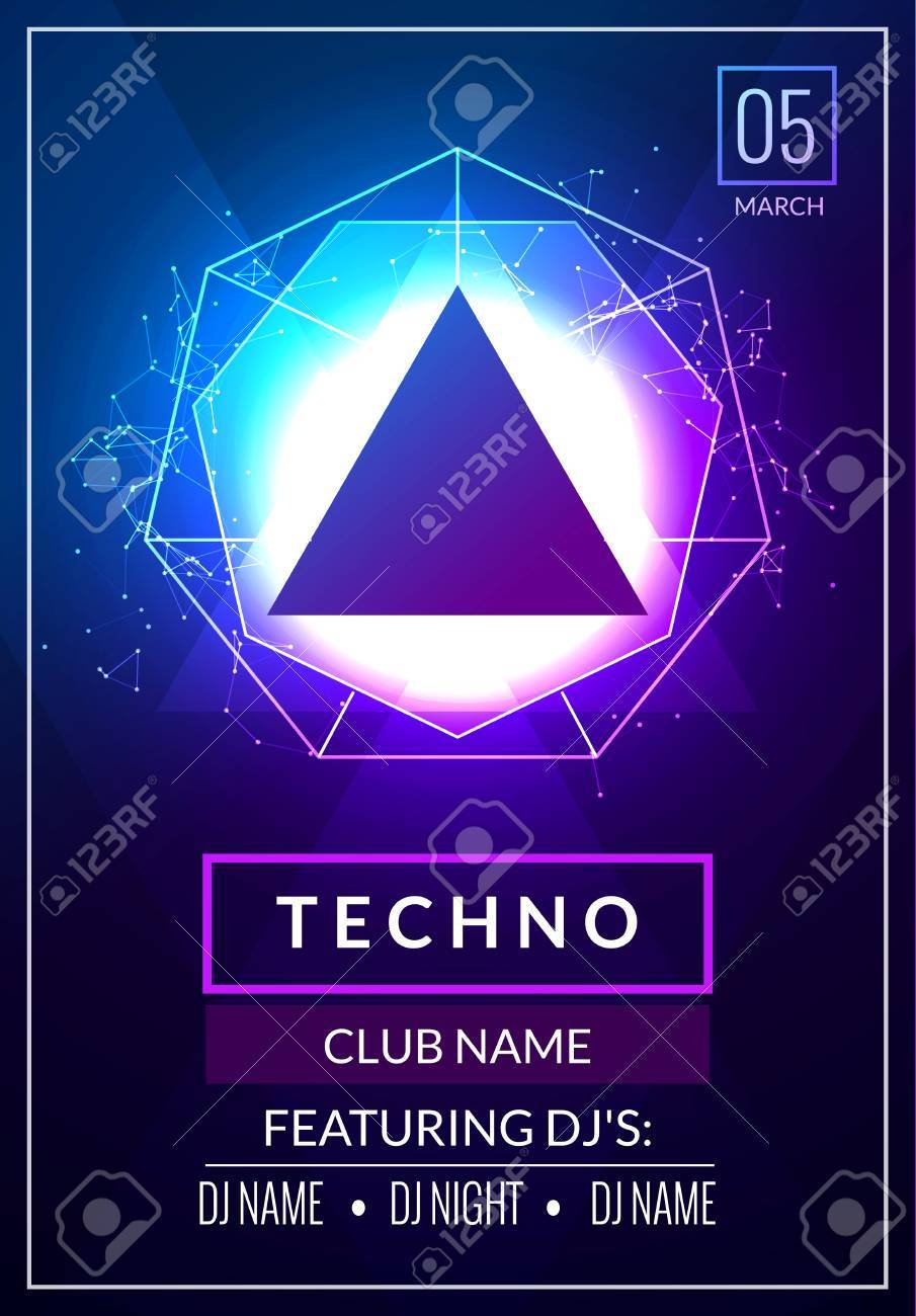 Techno Music Poster Electronic Club Deep Music Musical Event