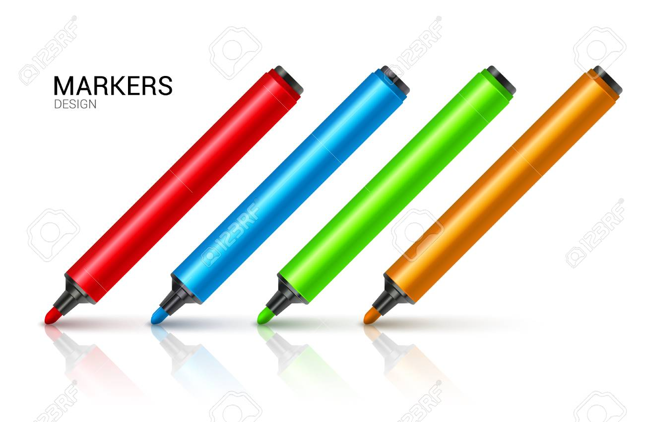Marker pens red green yellow blue vector set colourful highlighters