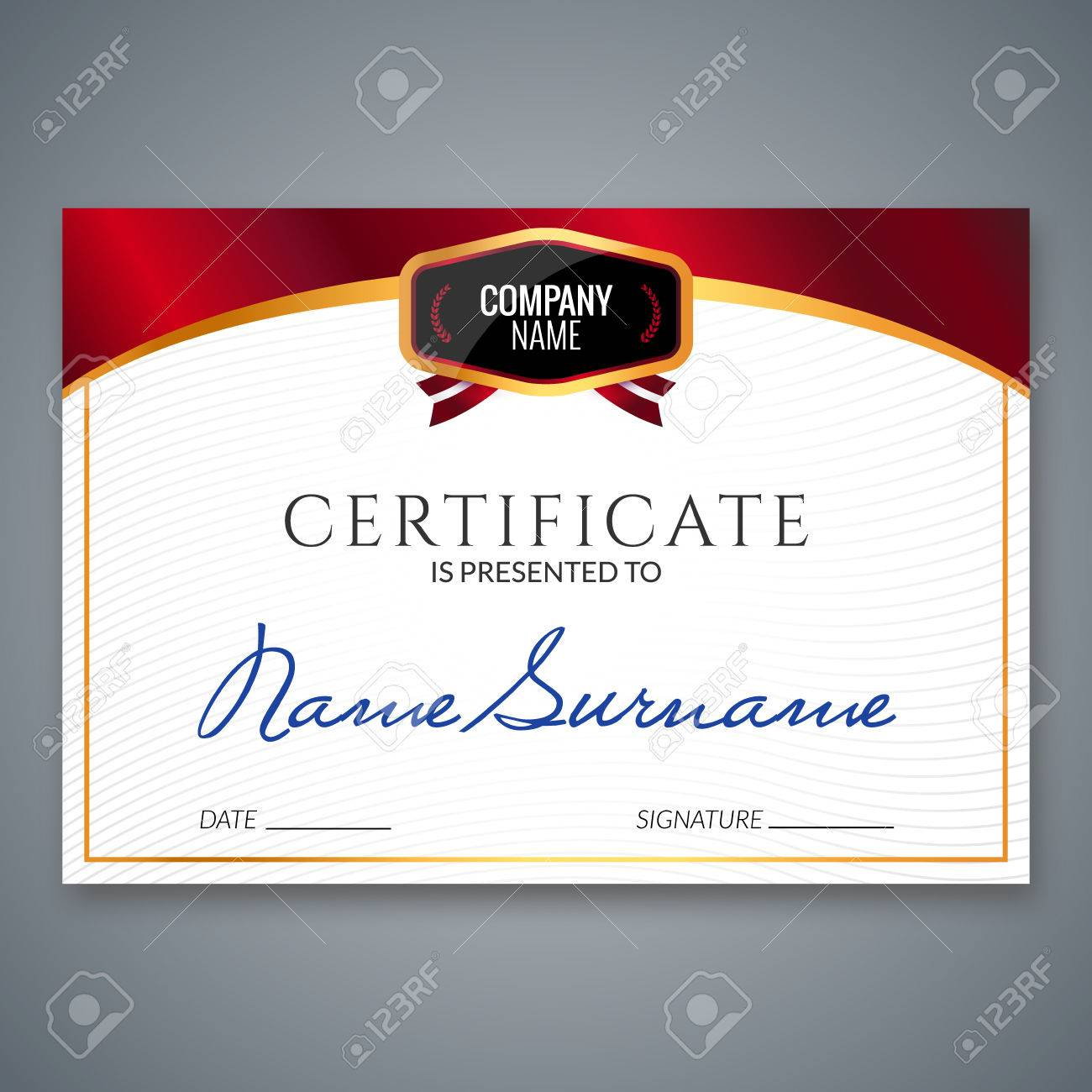 Certificate Template Luxury Award. Vector Business Diploma With ...