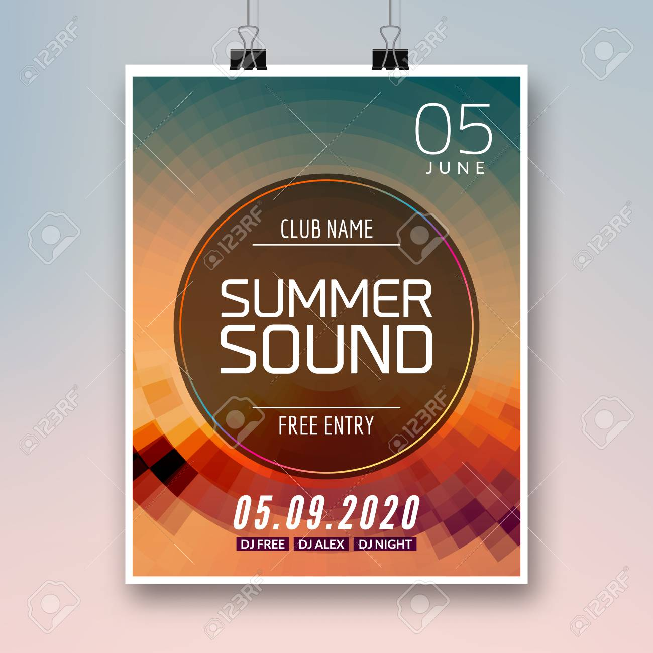 Music Summer Party Poster Graphic Design Disco Dance Flyer Or Royalty Free Cliparts Vectors And Stock Illustration Image 83034504