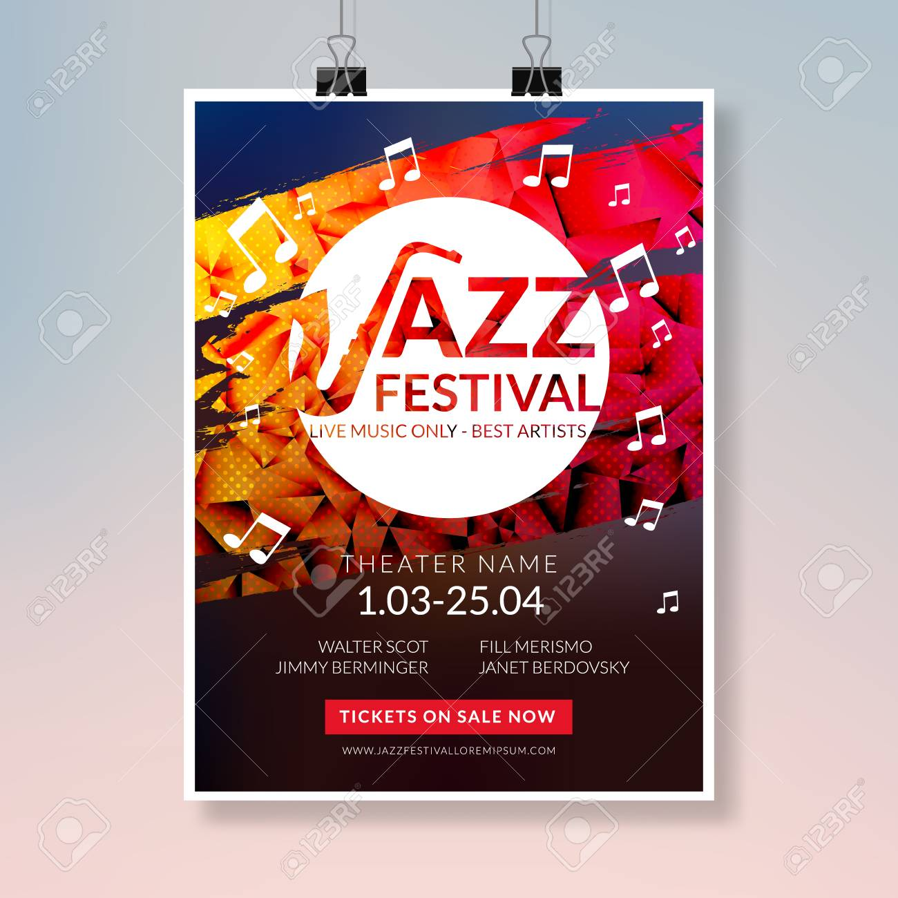 A Vector Musical Flyer Jazz Festival Music Concert Poster Background Brochure Template