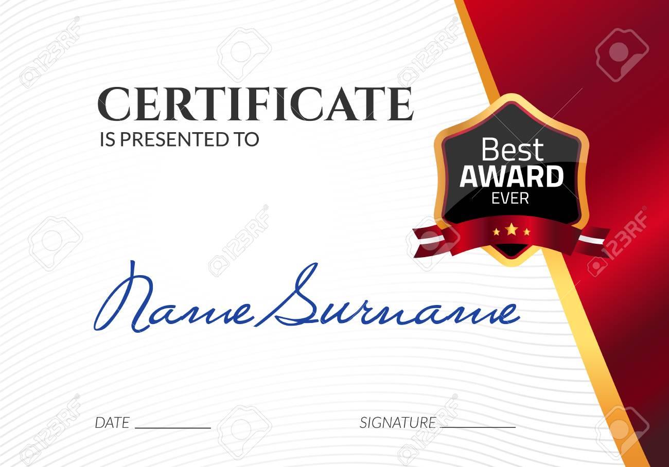 Certificado De Premio De Lujo Plantilla. Vector De Diploma De ...