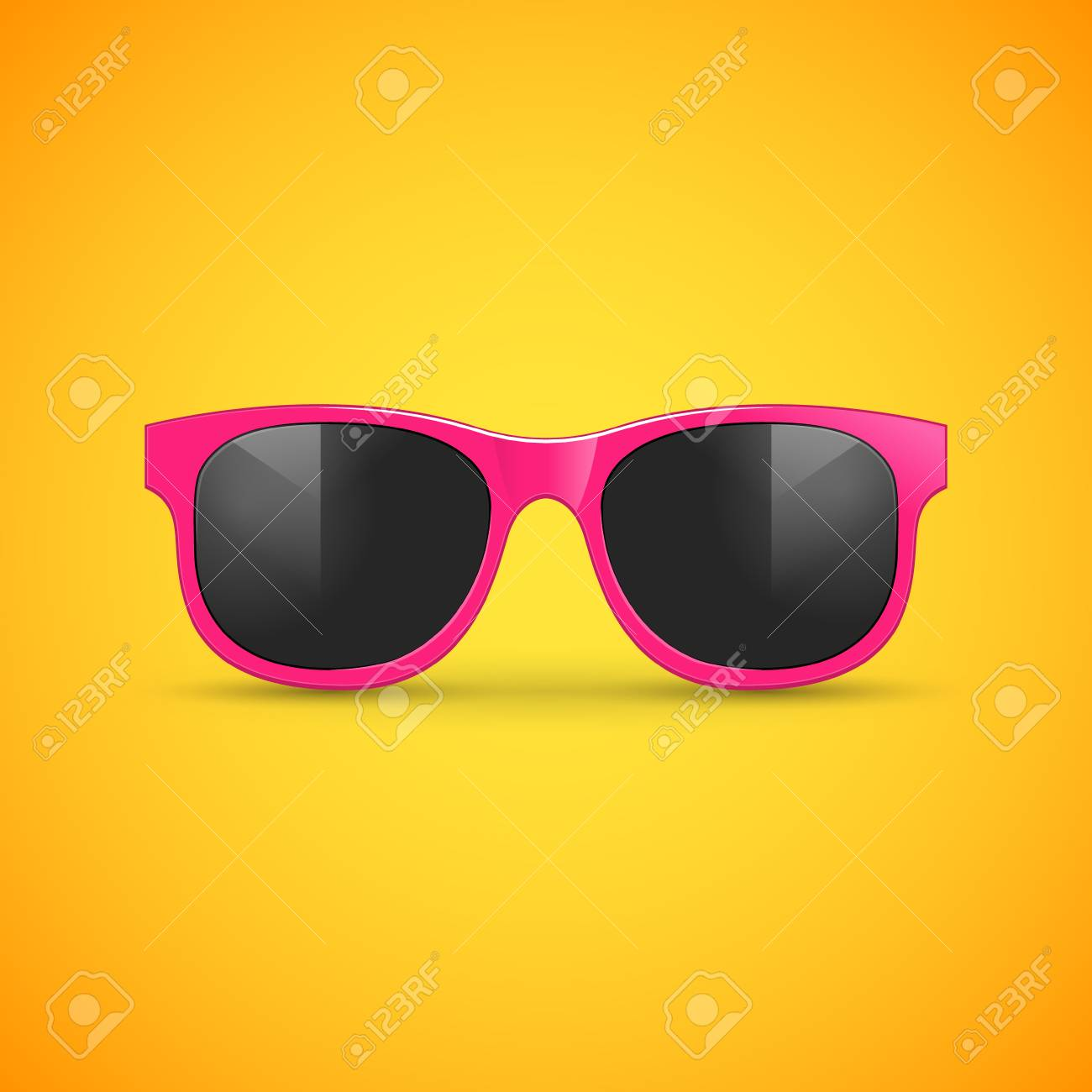 e8d602514 Vector sunglasses on yellow. Eyeglasses hipster fashion illustration..