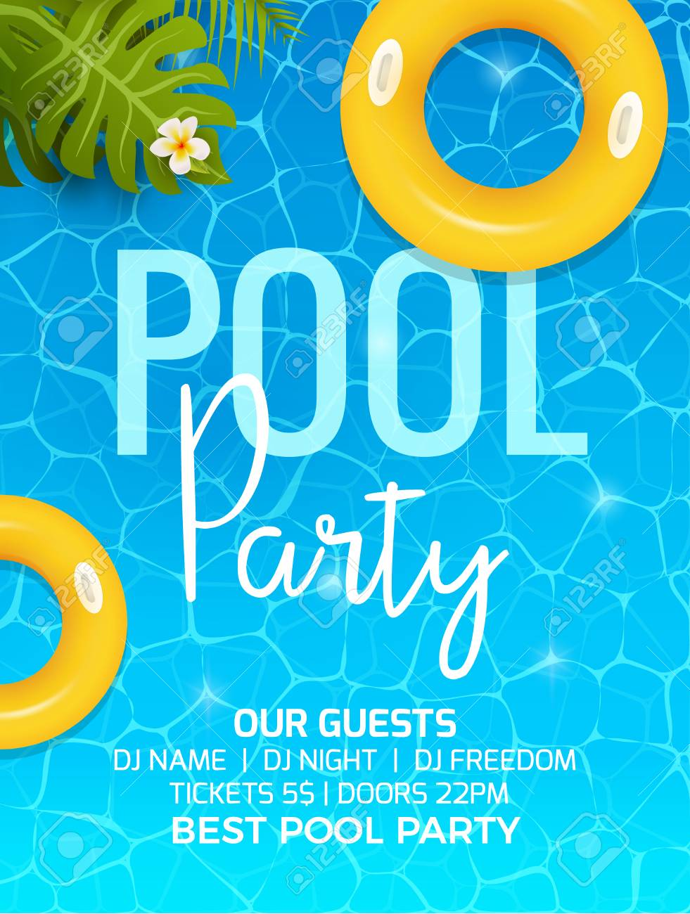 Pool Summer Party Invitation Template