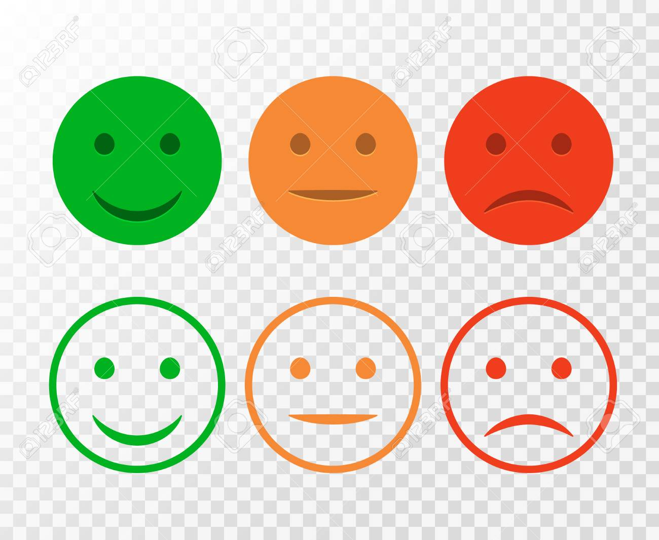Smiley icon set. Emoticons positive, neutral and negative. Vector isolated red and green mood. Rating smile for customer opinion isolated. - 86183788