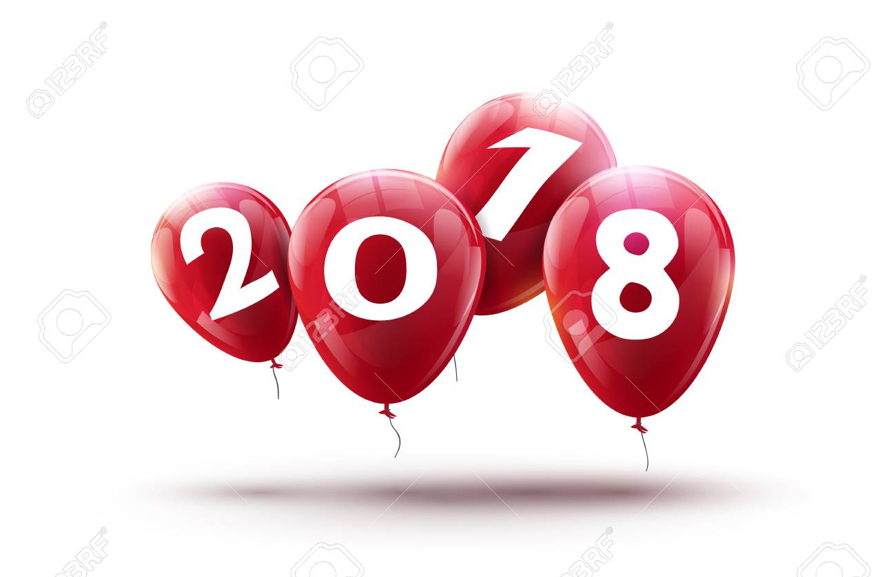 new 2018 year balloons design happy balloon vector decoration for new year celebration stock