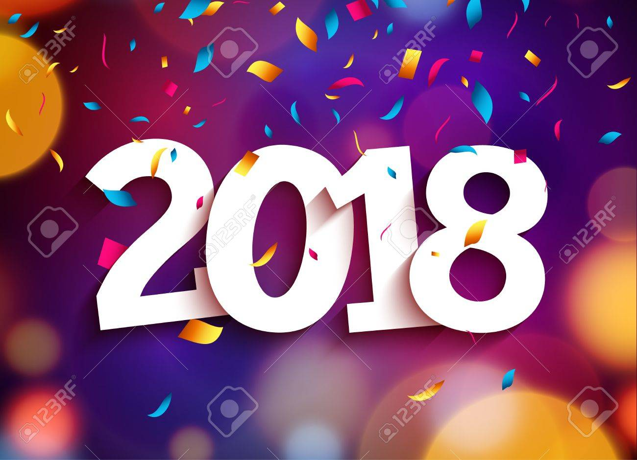 happy new year 2018 background decoration greeting card design template 2018 confetti stock vector