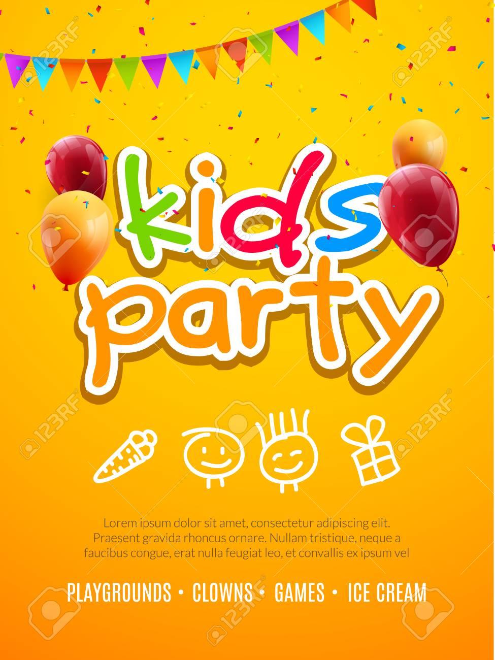Plantilla De Diseño De Invitación De Fiesta De Niños. Niño ...