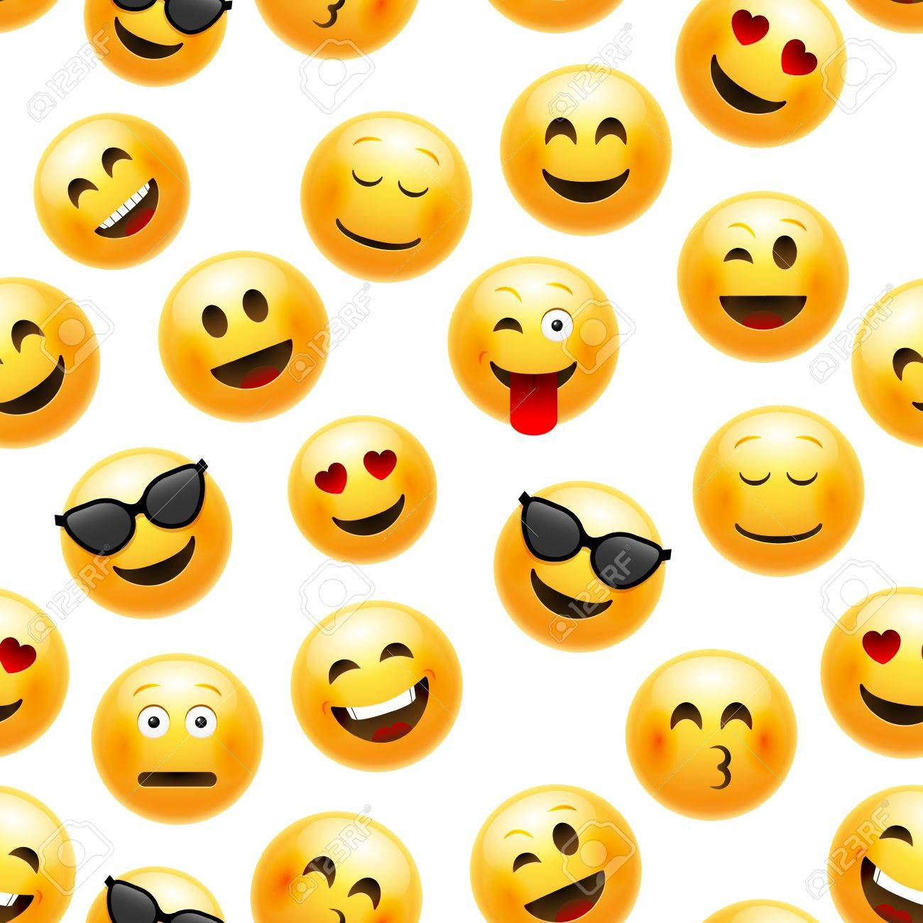 Emoji seamless pattern. Vector smiley face character illustration on white. - 87611963