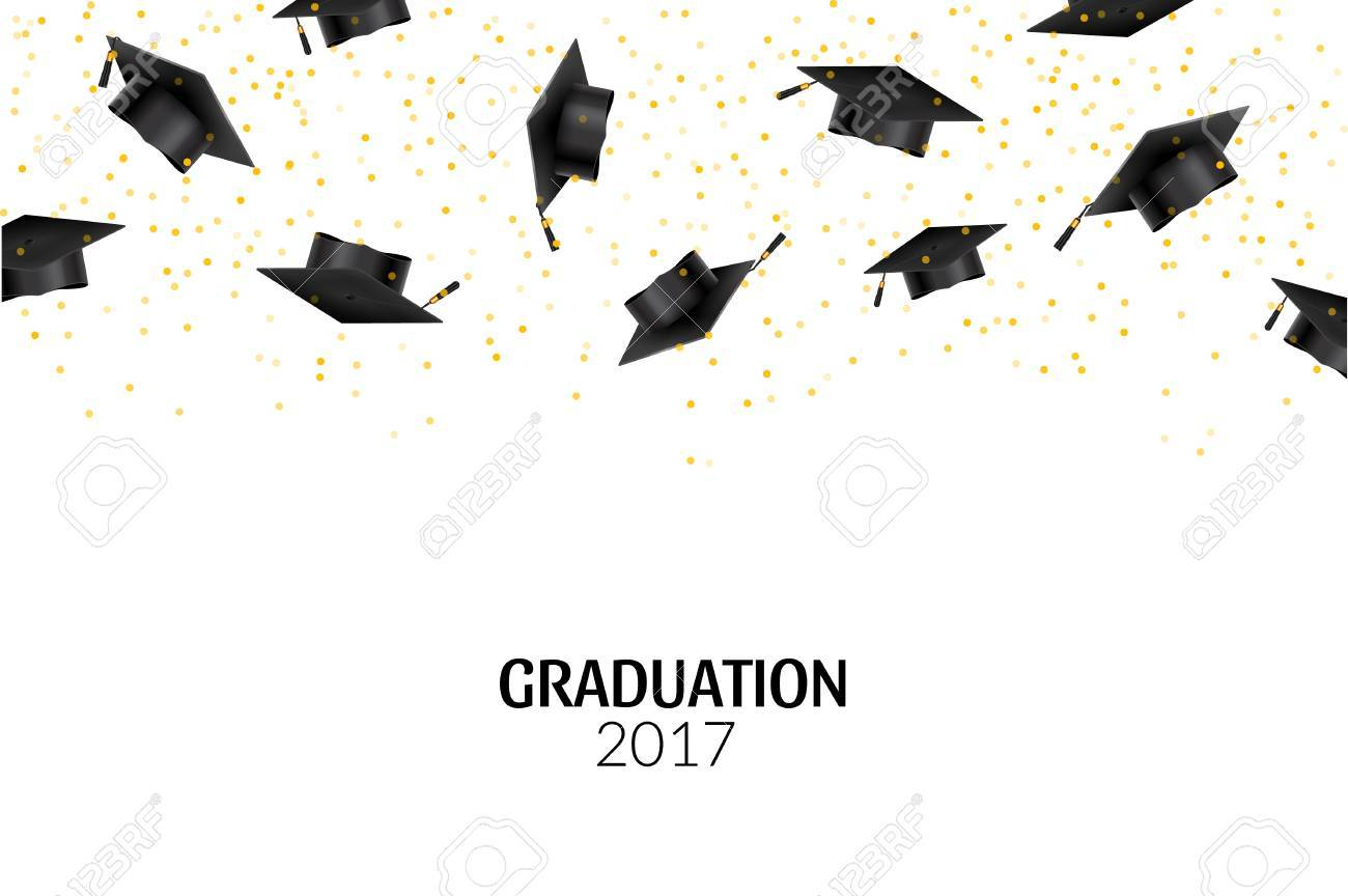 Graduate Caps And Gold Confetti On White Background Education