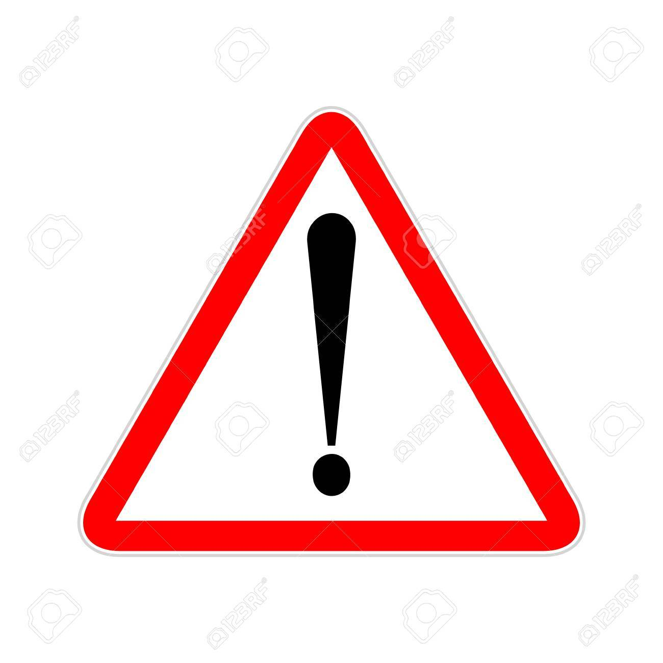 Attention sign symbol triangle. Caution icon exclamation. Alert road sign. - 87611969