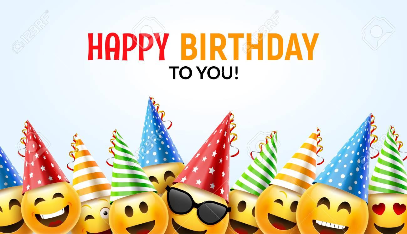 Happy birthday smiley greeting card vector illustration. - 88983260