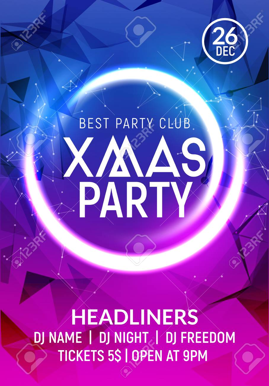 christmas new year party poster banner template holiday celebration card design xmas flyer party