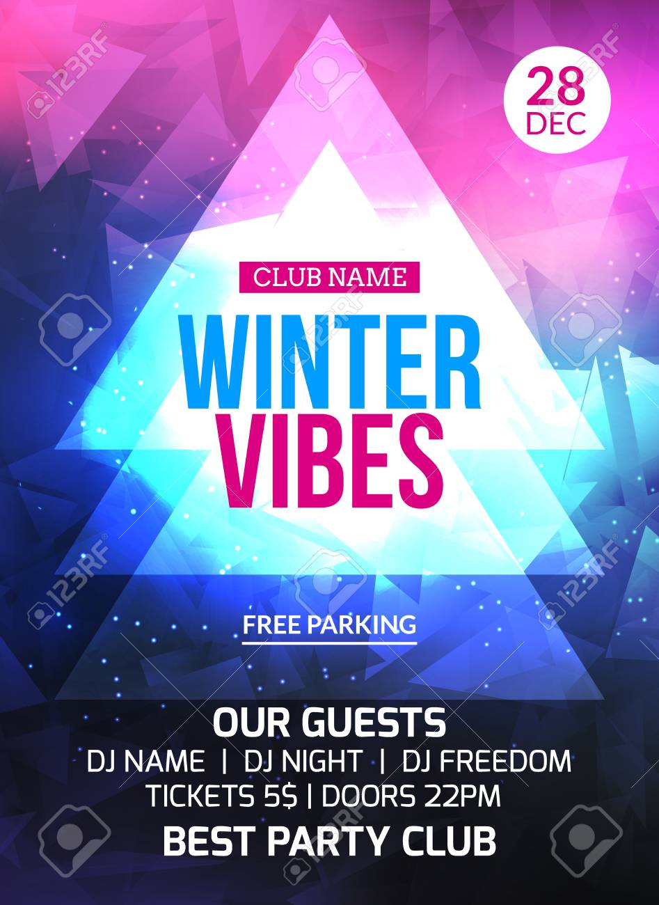 2018 New Year Winter Party Celebration Flyer Design Template