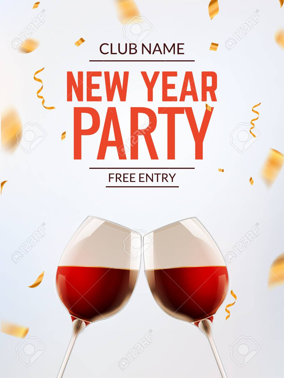 New Year Party Celebration Card Invitation Template Vector Royalty ...