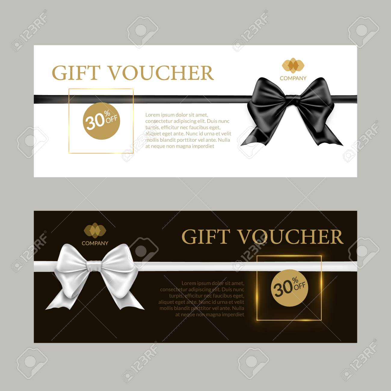 gift card or gift voucher template black and white bows and