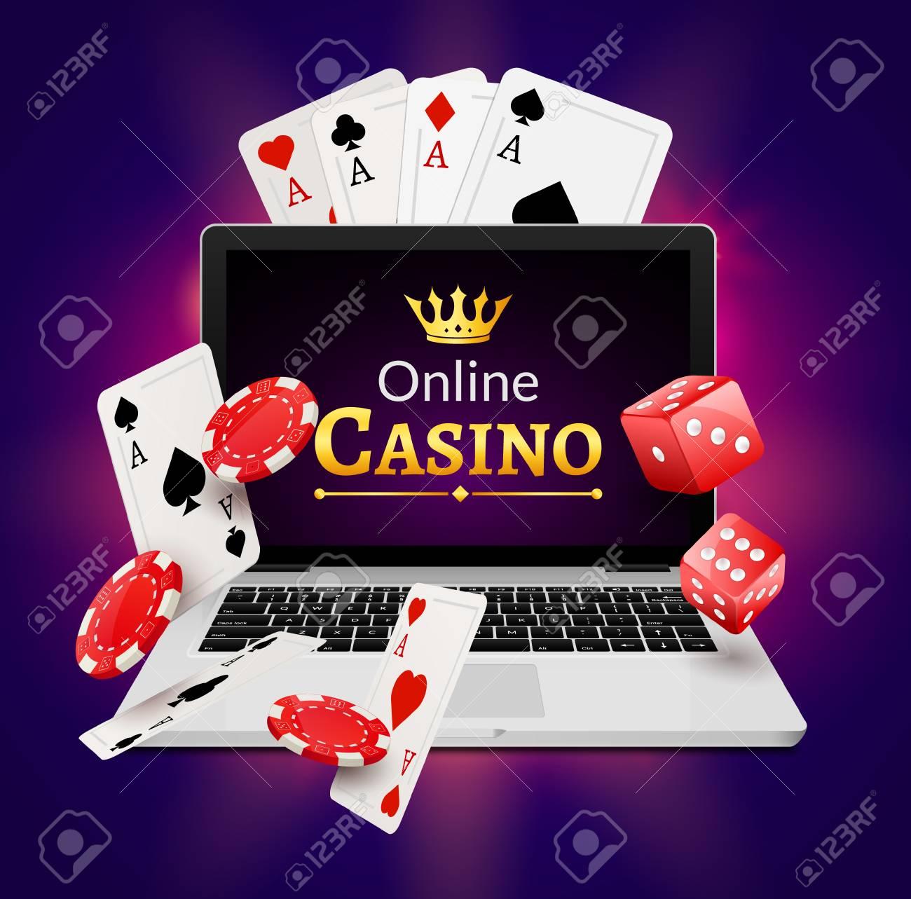 Concepto De Banner De Casino En Linea Con La Computadora Portatil