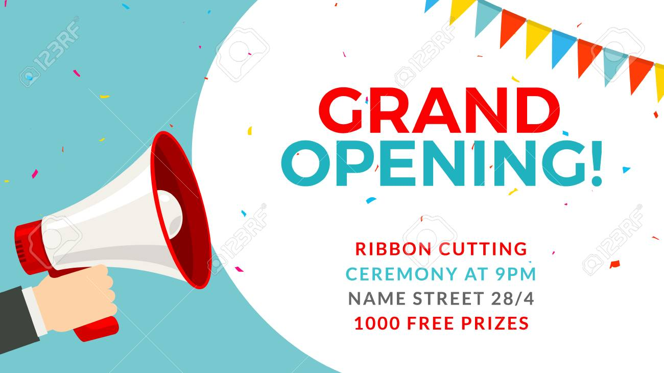 grand opening flyer banner template marketing business concept