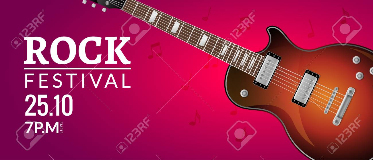Rock Festival Flyer Event Design Template With Guitar Rock Banner Royalty Free Cliparts Vectors And Stock Illustration Image 102082650