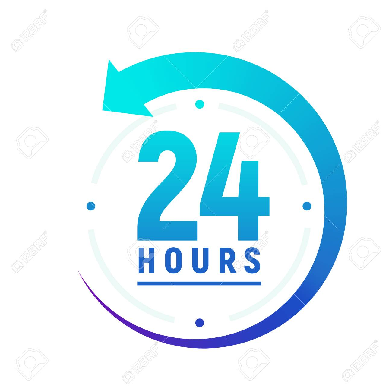 24 hours a day icon. Green clock icon around work. Service time support 24 hour per day. - 102620442