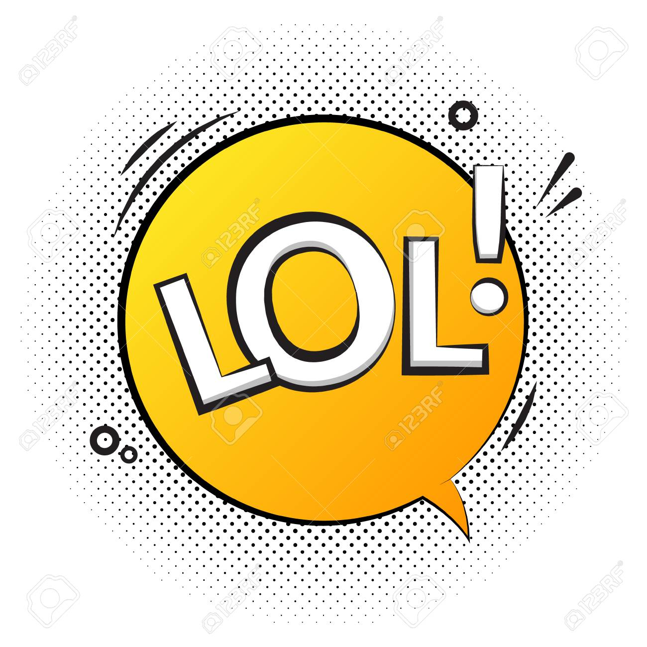 Lol Text Speech Label Icon Pop Retro Vector Tag Comic Background