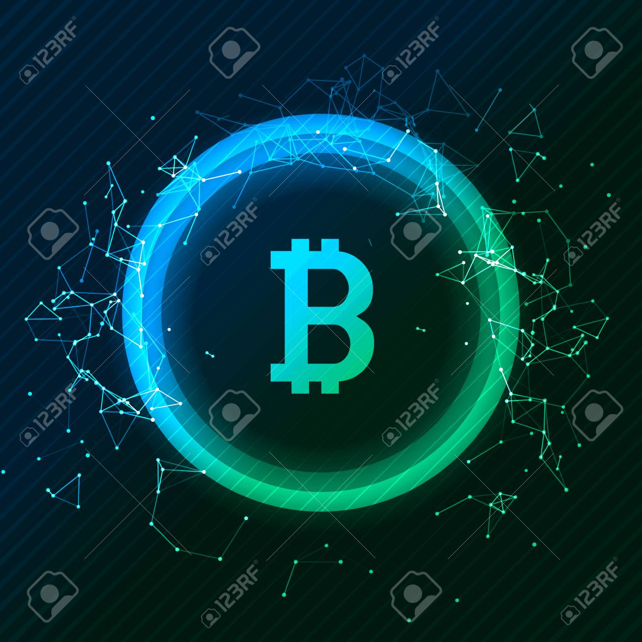 Bitcoin conceptual glowing background  Crypto currency blockchain