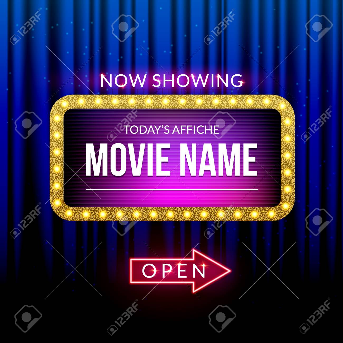 Cinema billboard now showing. Vector sign for theater with lights. Shiny banner decoration curtains. - 108189131