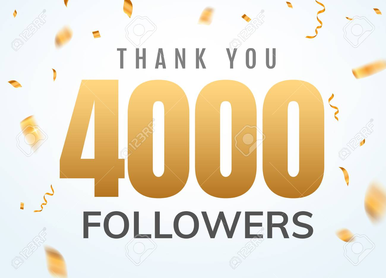 Thank You 4000 Followers Design Template Social Network Number ...