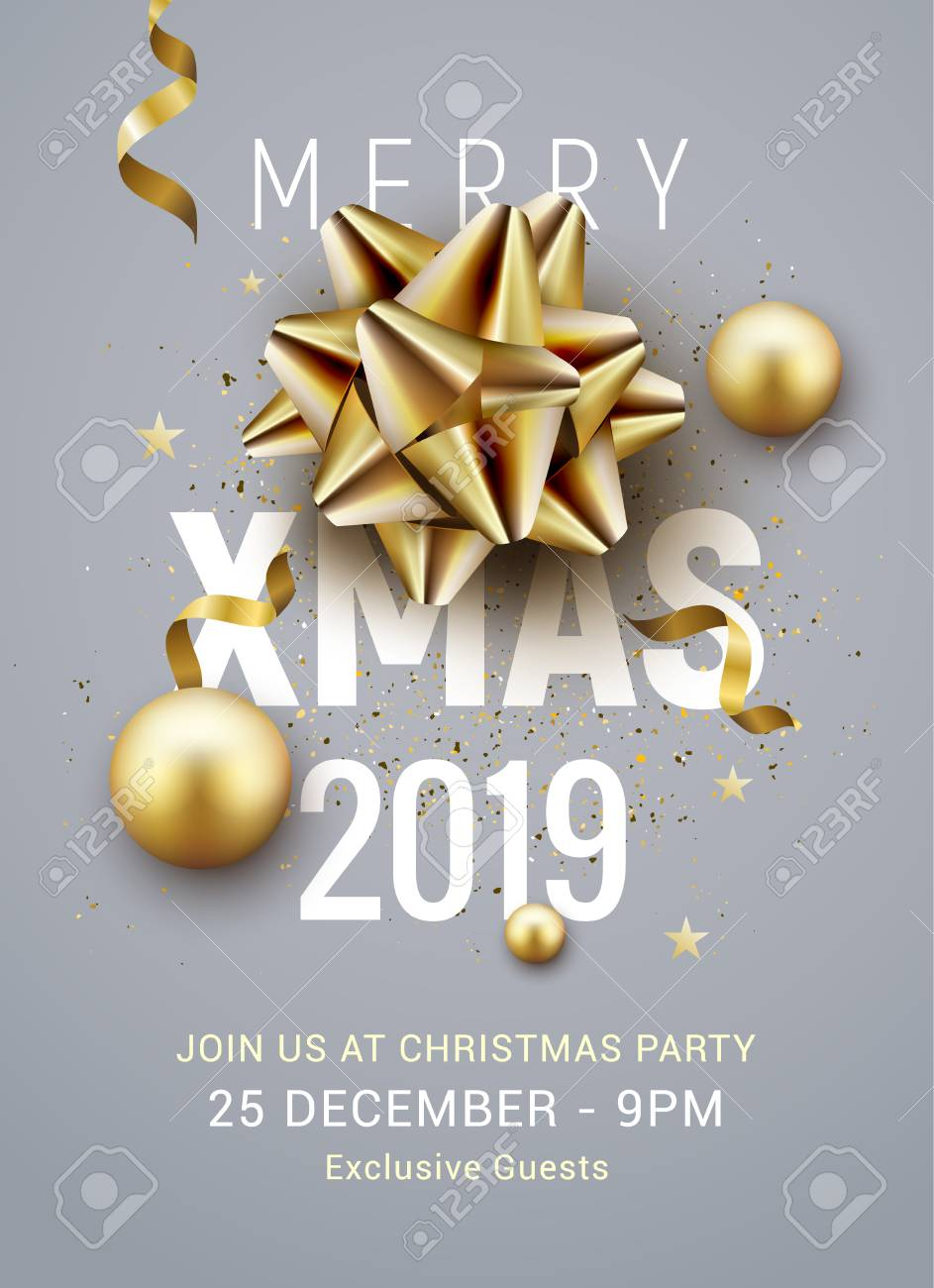 Christmas Party 2019 Clipart.Christmas Party Poster Template 2019 Christmas Gold Silver Balls