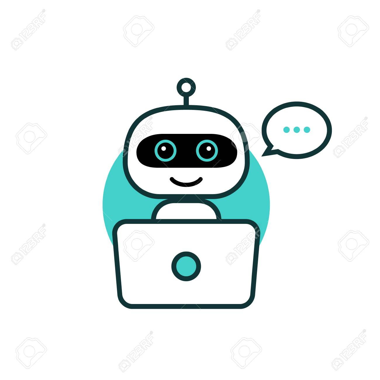 Robot icon. Chat Bot sign for support service concept. Chatbot character flat style. - 116377855