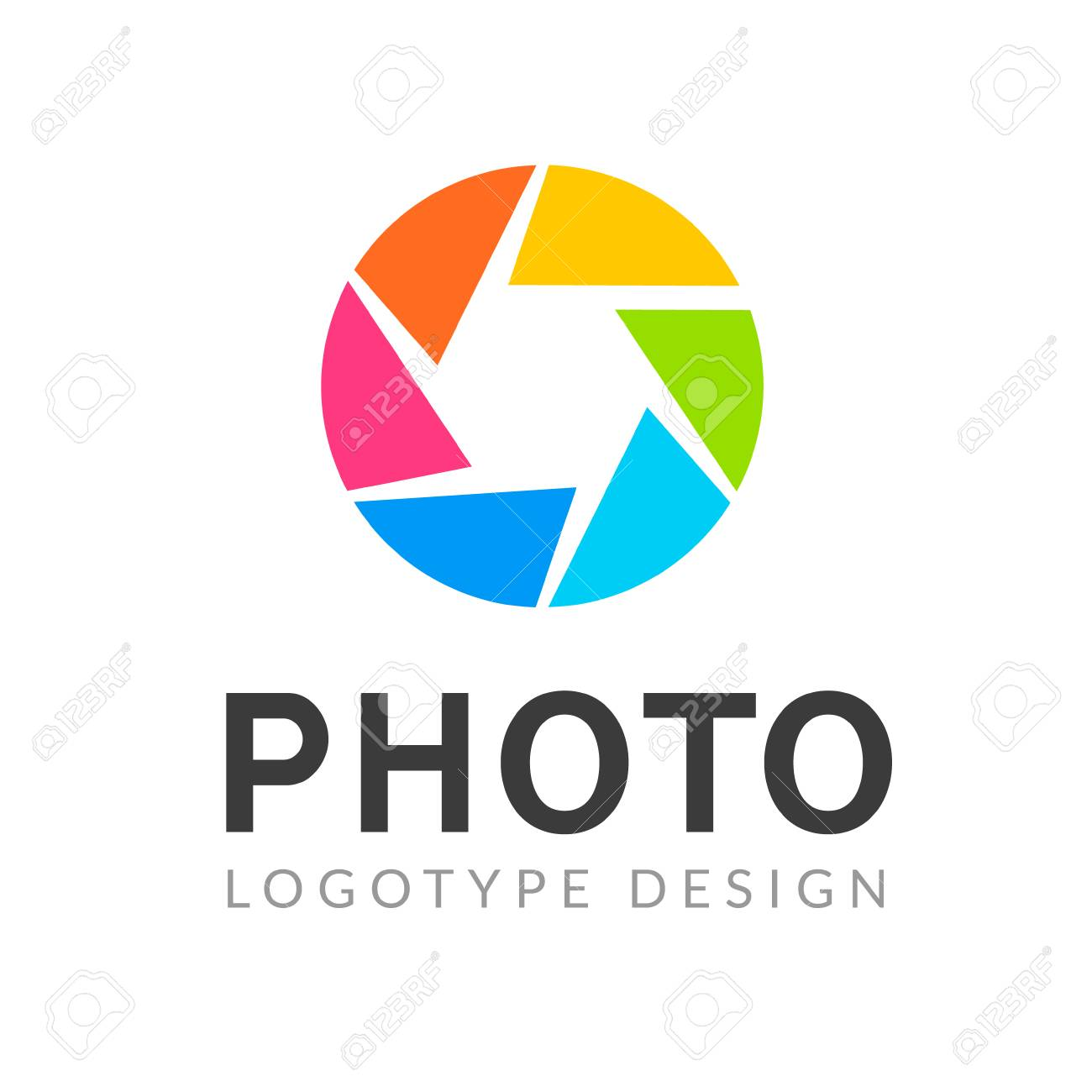 Photography logo template modern vector creative symbol. Shutter lens camera icon design element. - 116378251