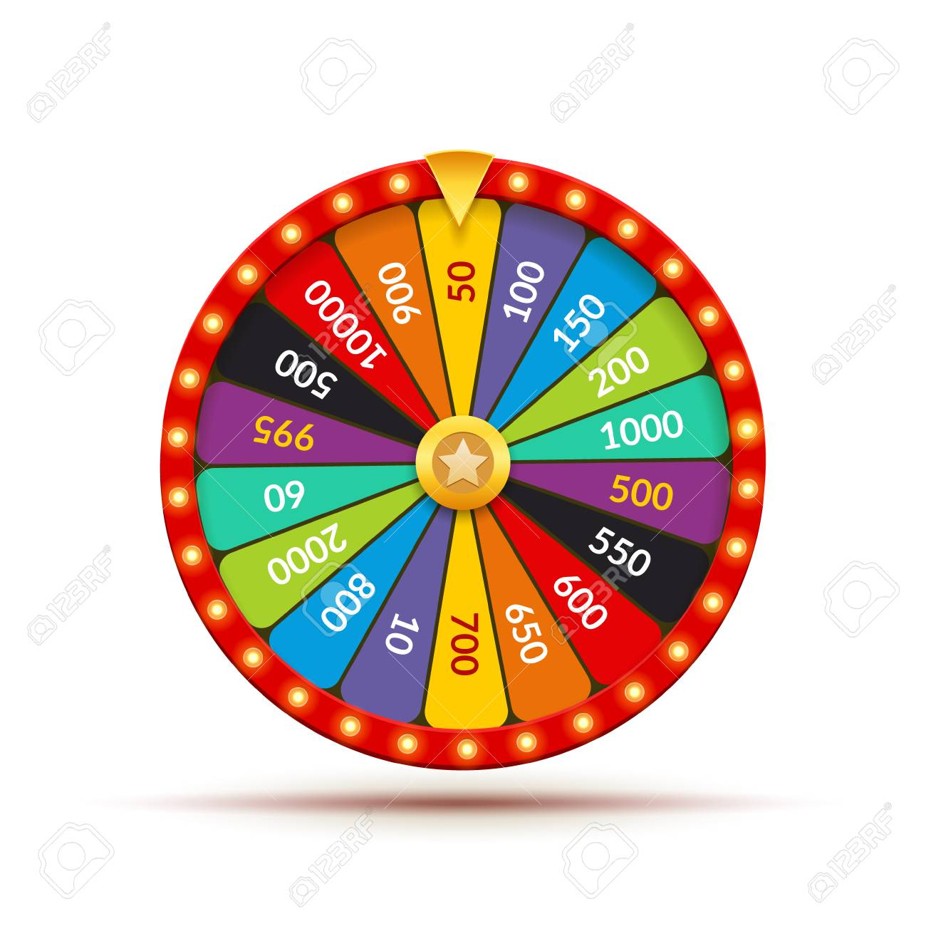 Wheel fortune casino game. Lucky prize spin jackpot lottery background. Fortune wheel isolated. - 125007871